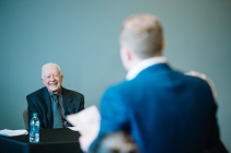 0110904-17SN: NOV 9, 2017: President Jimmy Carter visits an Emory University human rights class at Emory University in Atlanta, GA. Stephen Nowland/Emory University